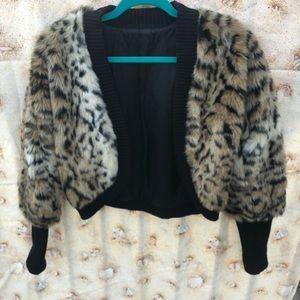 Michael Kors Cheetah spring For Fur Crop Jacket